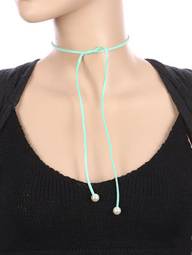 NECKLACE / FAUX SUEDE / WRAPAROUND CHOKER / PEARL CHARM / 31 INCH LONG / 1/3 INCH DROP / NICKEL AND LEAD COMPLIANT