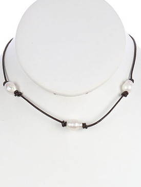 NECKLACE / PEARL / FAUX LEATHER CORD / ADJUSTABLE / 14 INCH LONG / 1/4 INCH DROP / NICKEL AND LEAD COMPLIANT