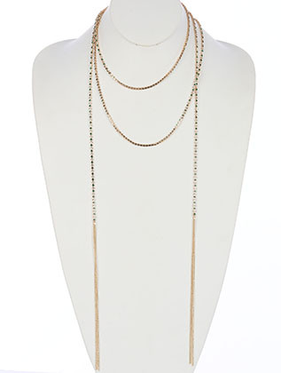 NECKLACE / COLOR RHINESTONE / OPEN END WRAPAROUND / CHAIN FRINGE / EXTRA LONG / 68 INCH LONG / 7 INCH DROP / NICKEL AND LEAD COMPLIANT