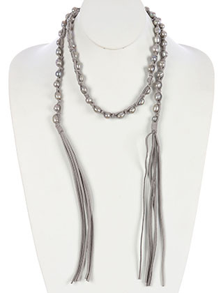 NECKLACE / KNOTTED FAUX SUEDE / PEARL WRAPAROUND / MULTI STRAND / FRINGE / OPEN END / 40 INCH LONG / 9 INCH DROP / NICKEL AND LEAD COMPLIANT