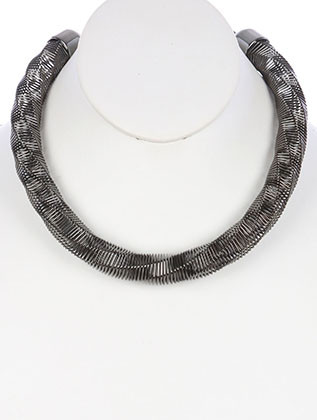 NECKLACE / TWISTED COIL WIRE / SPRING BIB / METAL SETTING / 14 INCH LONG / 5/8 INCH DROP / NICKEL AND LEAD COMPLIANT