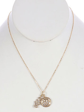 NECKLACE / MATT FINISH METAL / TRIBAL SYMBOL CHARM / TWO TONE / CHAIN / 18 INCH LONG / 1 INCH DROP / NICKEL AND LEAD COMPLIANT