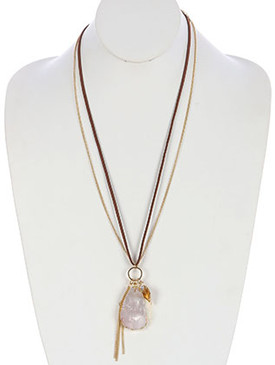 NECKLACE / CHAIN TASSEL / NATURAL STONE PENDANT / METAL LEAF CHARM / FAUX SUEDE / CHAIN / 28 INCH LONG / 3 INCH DROP / NICKEL AND LEAD COMPLIANT