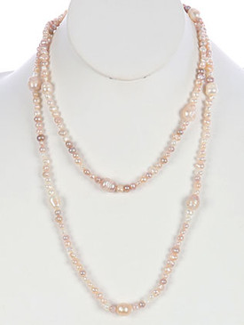 NECKLACE / FRESH WATER PEARL / EXTRA LONG WRAPAROUND / 44 INCH LONG / 1/3 INCH DROP / NICKEL AND LEAD COMPLIANT