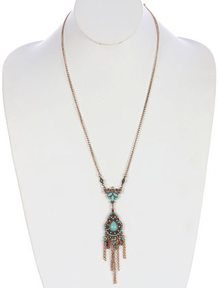 NECKLACE / AGED FINISH METAL / BOHEMIAN STYLE / CHAIN FRINGE / NATURAL STONE FINISH / METALLIC BEAD / CUTOUT METAL / CHAIN / 24 INCH LONG / 5 INCH DROP / NICKEL AND LEAD COMPLIANT