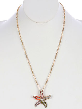 NECKLACE / PAVE CRYSTAL STONE / METAL STARFISH PENDANT / LINK / ROLO CHAIN / 24 INCH LONG / 1 3/4 INCH DROP / NICKEL AND LEAD COMPLIANT