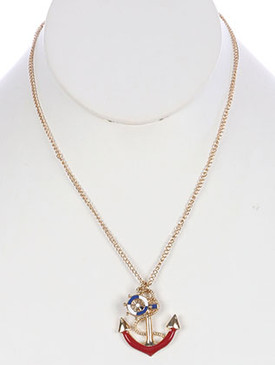 NECKLACE / METAL ANCHOR / PENDANT / EPOXY COATED / SHIP WHEEL CHARM / LINK / CHAIN / 18 INCH LONG / 1 1/2 INCH DROP / NICKEL AND LEAD COMPLIANT