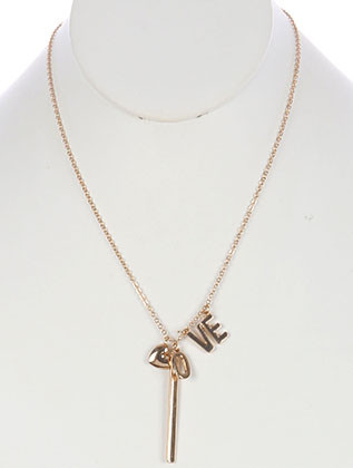 NECKLACE / METAL LETTER CHARM / MESSAGE / LOVE / HEART / CHAIN / 20 INCH LONG / 2 INCH DROP / NICKEL AND LEAD COMPLIANT