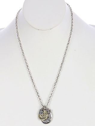 NECKLACE / AGED FINISH METAL / CROSS CHARM / MESSAGE / FAITH / HAMMERED / TEXTURED / TWO TONE / LINK / CHAIN / 24 INCH LONG / 1 3/8 INCH DROP / NICKEL AND LEAD COMPLIANT
