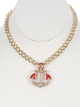 NECKLACE / EPOXY COATED METAL / ANCHOR PENDANT / PAVE CRYSTAL STONE / LINK / CHAIN / 16 INCH LONG / 1 1/2 INCH DROP / NICKEL AND LEAD COMPLIANT