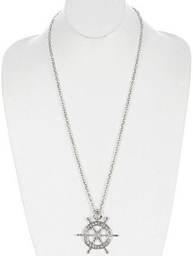 NECKLACE / PAVE CRYSTAL STONE / METAL SHIPWHEEL PENDANT / ANCHOR / LINK / CHAIN / 32 INCH LONG / 2 1/2 INCH DROP / NICKEL AND LEAD COMPLIANT