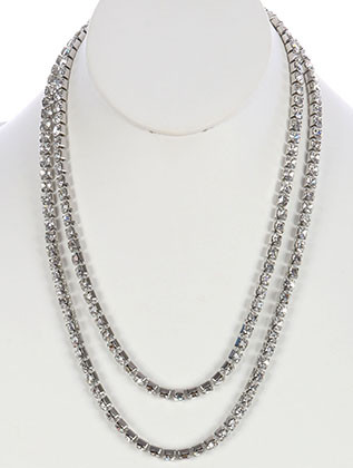 NECKLACE / TWO LAYER / RHINESTONE / METAL SETTING / 22 INCH LONG / 1 INCH DROP / NICKEL AND LEAD COMPLIANT