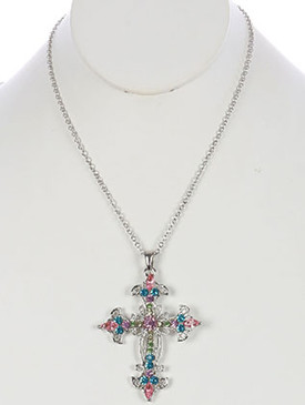 NECKLACE / FILIGREE METAL CROSS / PENDANT / COLOR CRYSTAL STONE / CUTOUT / CHAIN / 16 INCH LONG / 2 1/3 INCH DROP / NICKEL AND LEAD COMPLIANT