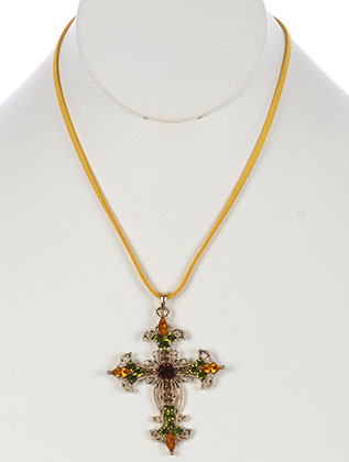 NECKLACE / FILIGREE METAL CROSS / PENDANT / COLOR CRYSTAL STONE / CUTOUT / FAUX SUEDE STRAND / 16 INCH LONG / 2 1/3 INCH DROP / NICKEL AND LEAD COMPLIANT