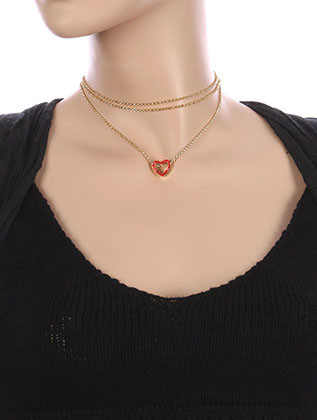 NECKLACE / METAL HEART CHARM / THREE CHAIN CHOKER / PAVE CRYSTAL STONE / CUTOUT / HOLLOW / 12 INCH LONG / 2 1/2 INCH DROP / NICKEL AND LEAD COMPLIANT