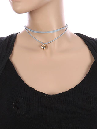NECKLACE / METAL HEART CHARM / FAUX SUEDE CHOKER / THREE STRAND / CUTOUT HOLLOW METAL / 12 INCH LONG / 2 INCH DROP / NICKEL AND LEAD COMPLIANT