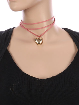 NECKLACE / HEART SHAPE CHOKER / FAUX SUEDE / LAYERED / 12 INCH LONG / 1 INCH DROP / NICKEL AND LEAD COMPLIANT