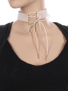 NECKLACE / FAUX SUEDE / LACE FRONT CHOKER / 12 INCH LONG / 8 INCH DROP / NICKEL AND LEAD COMPLIANT