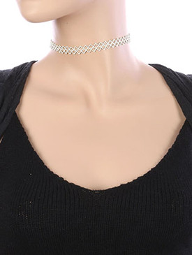 NECKLACE / CROCHET FABRIC / TATTOO CHOKER / 12 INCH LONG / 3/8 INCH DROP / NICKEL AND LEAD COMPLIANT