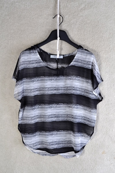 Striped Loose Fitting Sheer Top - Black
