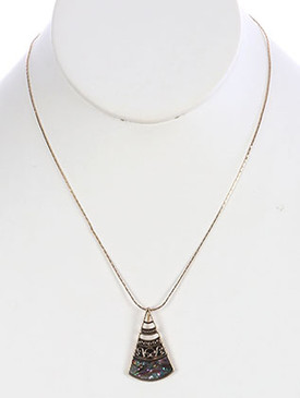 NECKLACE / OYSTER SHELL FINISH / TRIANGULAR METAL PENDANT / SPIRAL TEXTURED / CUTOUT / AGED FINISH / CHAIN / 18 INCH LONG / 1 1/2 INCH DROP / NICKEL AND LEAD COMPLIANT