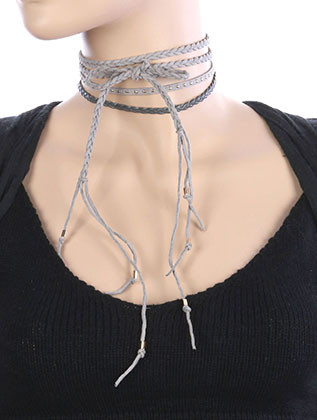 NECKLACE / 3 PC / FAUX SUEDE CHOKER / BRAIDED / WRAPAROUND / METALLIC STUD / 40 INCH LONG / NICKEL AND LEAD COMPLIANT
