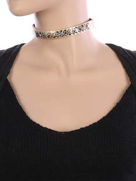 NECKLACE / METAL STAR STUD / METALLIC FINISH CHOKER / FAUX LEATHER / MULTI TONE / CRYSTAL STONE / 12 INCH LONG / 2/3 INCH DROP / NICKEL AND LEAD COMPLIANT