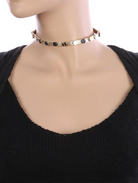NECKLACE / METAL SCREW STUD / METALLIC FINISH CHOKER / FAUX LEATHER / MULTI TONE / 12 INCH LONG / 1/4 INCH DROP / NICKEL AND LEAD COMPLIANT