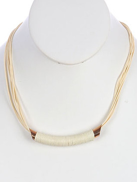 NECKLACE / MULTI STRAND / BIB / METAL BEAD / WRAPAROUND CORD / MULTI CORD / 16 INCH LONG / 1/2 INCH DROP / NICKEL AND LEAD COMPLIANT