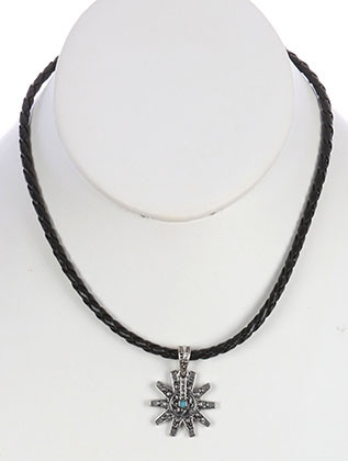 NECKLACE / AGED FINISH / SPUR / TEXTURED METAL / MICRO BEAD / BRAIDED CORD / 14 INCH LONG / 1 1/4 INCH DROP / NICKEL AND LEAD COMPLIANT