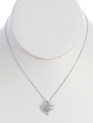 NECKLACE / CUBIC ZIRCONIA / PENDANT / LINK / CHAIN / 16 INCH LONG / 3/4 INCH DROP / NICKEL AND LEAD COMPLIANT