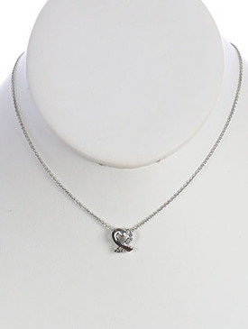 NECKLACE / HEART / LINK / BRASS / CRYSTAL STONE PAVED / 1/3 INCH DROP / 17 INCH LONG / NICKEL AND LEAD COMPLIANT