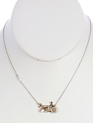NECKLACE / CUBIC ZIRCONIA / HORSE CARRIAGE PENDANT / LINK / CHAIN / 16 INCH LONG / 1/2 INCH DROP / NICKEL AND LEAD COMPLIANT
