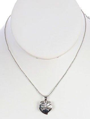 NECKLACE / I LOVE YOU / HEART / BOW / CRYSTAL STONE / 16 INCH LONG / 1 INCH DROP / NICKEL AND LEAD COMPLIANT