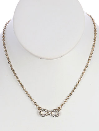 NECKLACE / LINK / METAL / CRYSTAL STONE PAVED / INFINITY / 1/3 INCH DROP / 16 INCH LONG / NICKEL AND LEAD COMPLIANT /