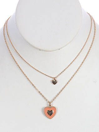 NECKLACE / CHARM / HEART / MULTISTRAND / METAL / EPOXY / 1 3/4 INCH DROP / 16 INCH LONG / NICKEL AND LEAD COMPLIANT
