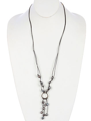 NECKLACE / DOUBLE CORD / FRINGE / METAL RING / METALLIC FINISH BEAD / 34 INCH LONG / 4 INCH DROP / NICKEL AND LEAD COMPLIANT