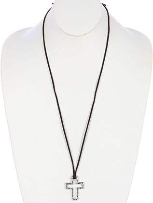 NECKLACE / CROSS / ADJUSTABLE / FAUX SUEDE STRAND / HAMMERED CROSS / FAITH / 30 INCH LONG / 2 INCH DROP / NICKEL AND LEAD COMPLIANT