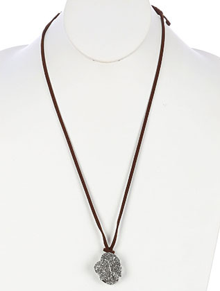 NECKLACE / NATURAL STONE PENDANT / ADJUSTABLE / WIRED / FAUX SUEDE STRAND / 30 INCH LONG / 1 1/2 INCH DROP / NICKEL AND LEAD COMPLIANT