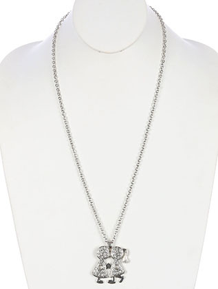 NECKLACE / BOY AND GIRL / PAVE CRYSTAL STONE / HEART / METAL SETTING / LINK / CHAIN / 28 INCH LONG / 2 INCH DROP / NICKEL AND LEAD COMPLIANT