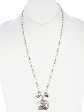 NECKLACE / LOVE ALWAYS / CHARM / HEART / HAMMERED METAL / 26 INCH LONG / 2 1/2 INCH DROP / NICKEL AND LEAD COMPLIANT