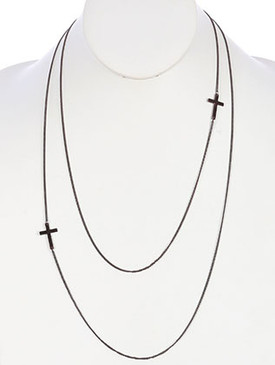 NECKLACE / LINK / METAL / MULTI STRANDED / CROSS / 24 INCH LONG / NICKEL AND LEAD COMPLIANT