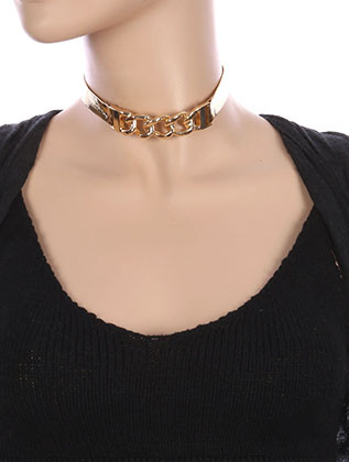 NECKLACE / CURB CHAIN / METALLIC RIBBON CHOKER / CURVED METAL / 12 INCH LONG / 3/4 INCH DROP / NICKEL AND LEAD COMPLIANT