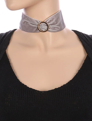 NECKLACE / METAL RING CENTER / VELVETY RIBBON CHOKER / 12 INCH LONG / 2 INCH DROP / NICKEL AND LEAD COMPLIANT