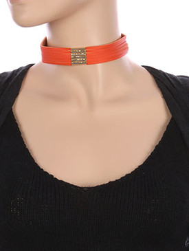 NECKLACE / MULTI STRAND / FAUX LEATHER CHOKER / HOLLOW METALLIC BEAD / 12 INCH LONG / 7/8 INCH DROP / NICKEL AND LEAD COMPLIANT