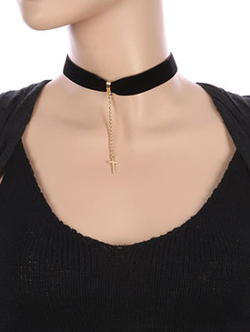 NECKLACE / METAL CROSS CHARM / VELVETY RIBBON CHOKER / CHAIN DROP / 12 INCH LONG / 4 INCH DROP / NICKEL AND LEAD COMPLIANT
