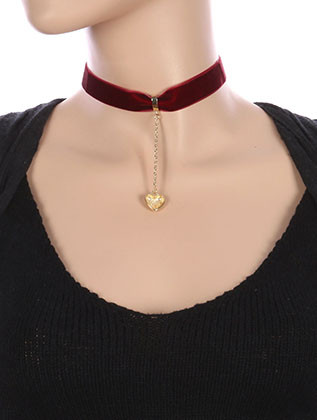 NECKLACE / METAL HEART CHARM / VELVETY RIBBON CHOKER / CHAIN DROP / 12 INCH LONG / 3 1/2 INCH DROP / NICKEL AND LEAD COMPLIANT