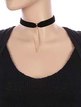 NECKLACE / METAL BAR CHARM / VELVETY RIBBON CHOKER / CHAIN DROP / 12 INCH LONG / 3 1/2 INCH DROP / NICKEL AND LEAD COMPLIANT