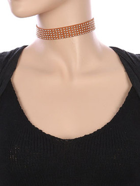 NECKLACE / METALLIC STUD / FAUX SUEDE CHOKER / 12 INCH LONG / 3/4 INCH DROP / NICKEL AND LEAD COMPLIANT