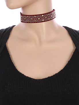 NECKLACE / METALLIC STUD / ELASTIC CHOKER / STRETCHY / 12 INCH LONG / 1 INCH DROP / NICKEL AND LEAD COMPLIANT